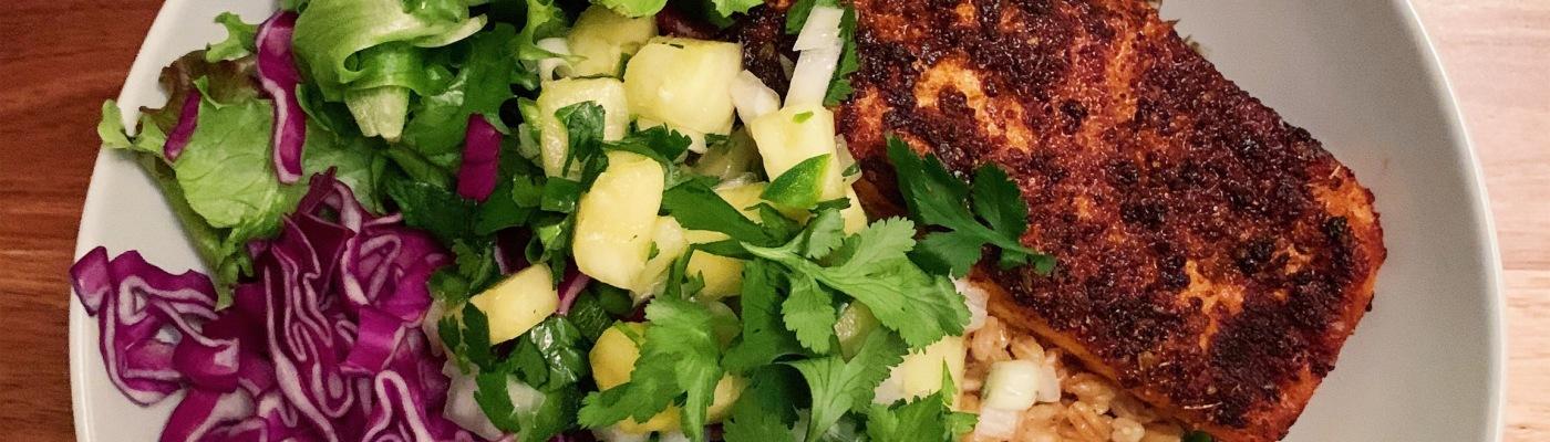 Blackened Salmon Grain Bowl with Pineapple Salsa