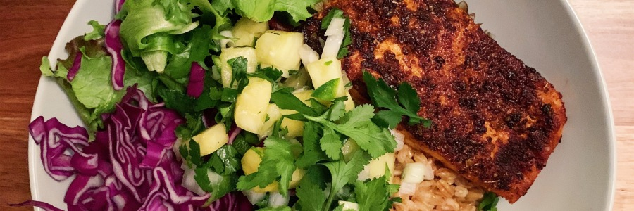Blackened Salmon Grain Bowl with Pineapple Salsa
