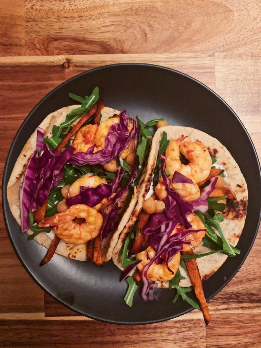 Harissa Shrimp Tacos